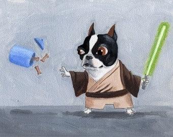 Jedi Terrier - 11 x 14 Boston Terrier Dog Art Print
