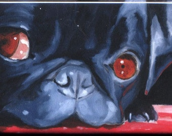 Pug Black cute dog art magnet