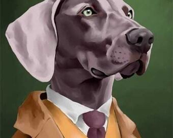 The Well Dressed Weimaraner dog art print