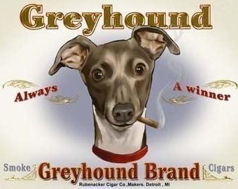Greyhound Cigar Label Dog Art Print