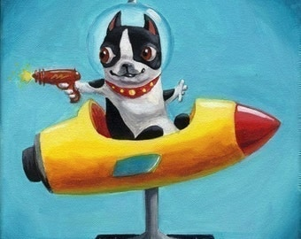 Space Rangers - Boston Terrier Print from oil painting