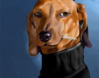 Dachshund Cool Cat art print 11 x 14