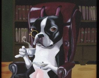 Boston Terrier Tea in the Library Dog Art Magnet