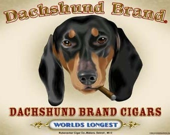 Dachshund cigar label print