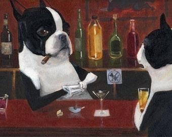 Boston Terrier Bartender dog art print