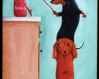 Dachshund magnet art, Bone Thieves Magnet Dog Art