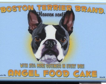 Boston Terrier Angel Food Cake Dog Art Magnet