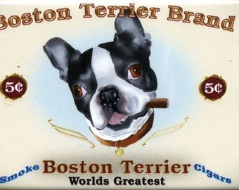 Boston Terrier Cigar Label magnet