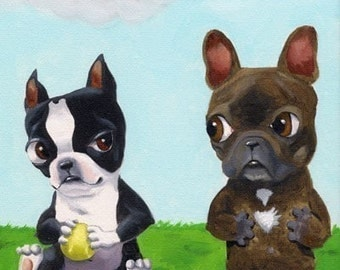 Boston terrier hoarding toys from a frenchie dog art magnet
