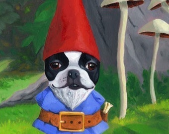 Gnome - Boston Terrier Dog Art Print