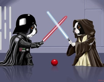 Boston Terrier Duel - Boston Terrier Jedi dog art print