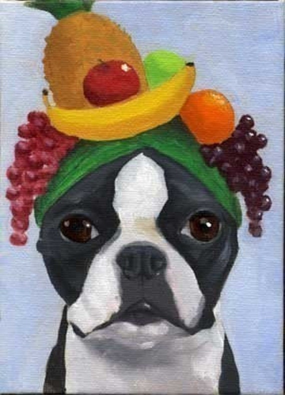 BOSTON TERRIER  dog art PRINT 101 bostons wearing hats 12