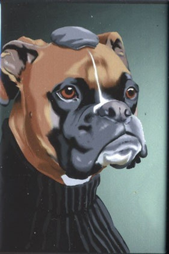 Boxer dressed dog art magnet