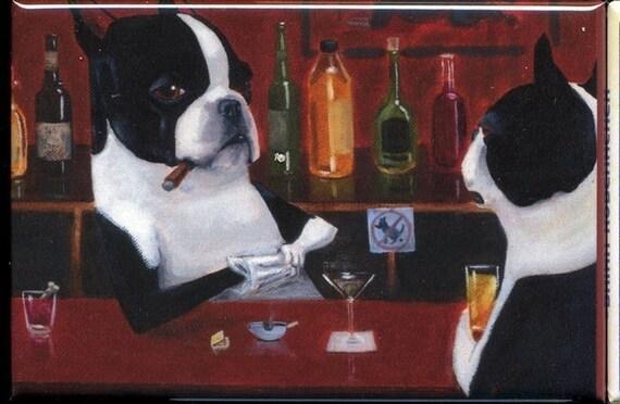 Boston Terrier Bartender Drinking Dog Art Magnet