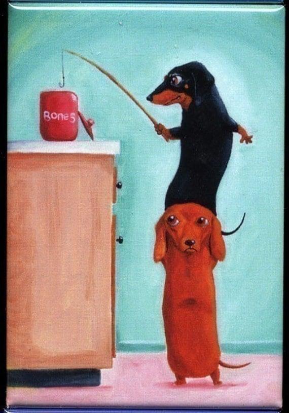 Dachshund magnet art, Bone Thieves Magnet Dog Art