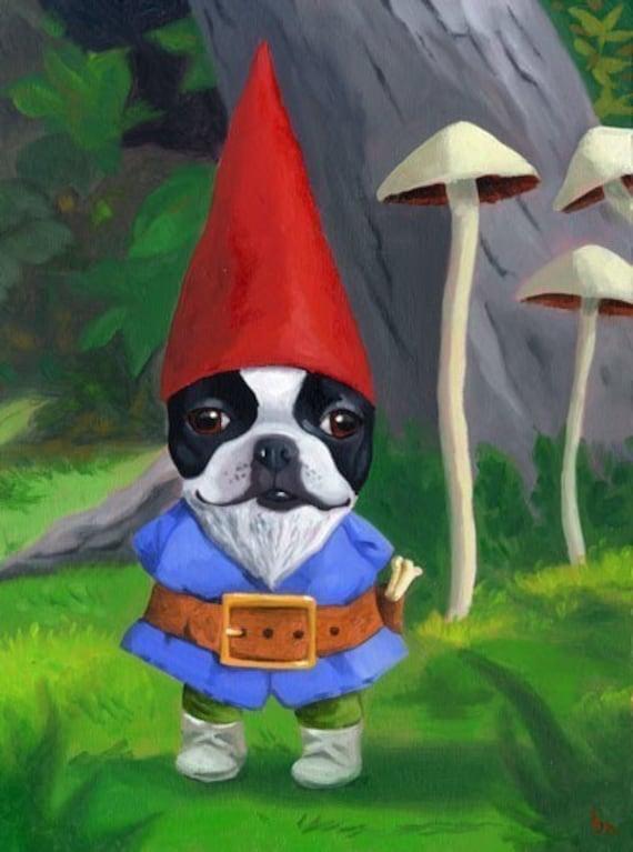 Gnome - Boston Terrier Dog Art Print