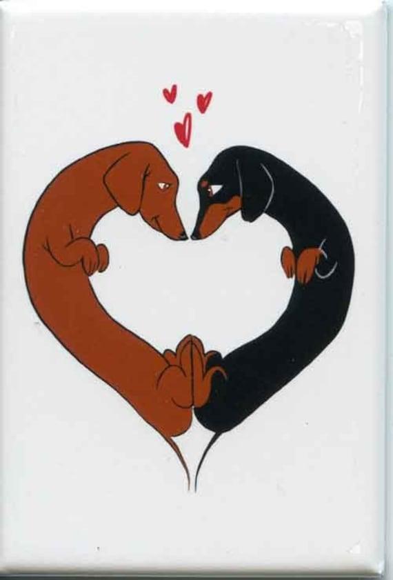 Love Heart - Dachshund Cute dog art magnet