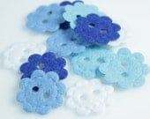 Felt Flower Buttons - Blues