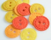 Felt Circle Buttons - Orange and Yellow