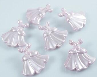 Princess Dress Pink Pearl  Novelty Buttons
