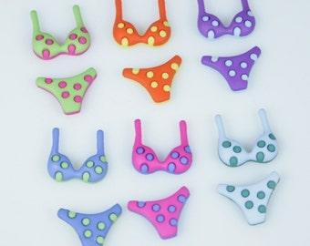 Polka Dot Bikini Novelty Cabochons (12 pcs) Flatback Embellishments