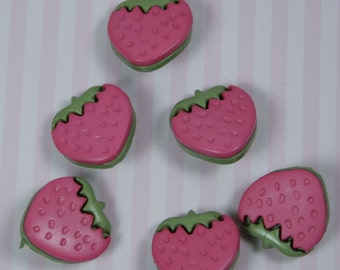 Pink Strawberry Novelty Buttons