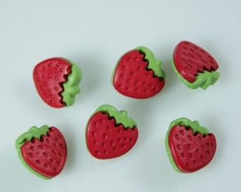 Small Red Strawberry Novelty Buttons
