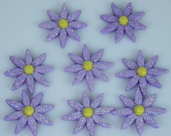 Glittered Flowers Novelty Flatback Cabochon Accents