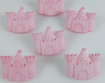 Pink Princess Castle Novelty Buttons