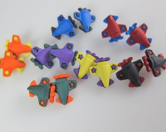 Assorted Colors Airplane Novelty Buttons