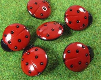 Large Red Ladybug Novelty Buttons