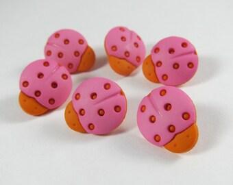 Pink and Orange Ladybug Novelty Buttons