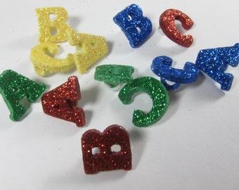 Glittered Alphabet Buttons