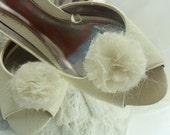 Shoe Clips Wedding Pom Pom   Cream Organza  - Handmade in France
