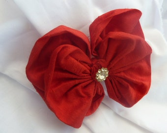 Red Slub Silk Bow Haircomb Made with Vintage Silk and Diamante button