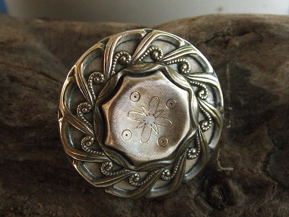 Art Deco Button Ring Adjustable,Handmade with vintage Buttons