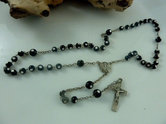 Childs Rosary 4 Decade Beads Lourdes Black Glass with Silver  Dots French Vintage