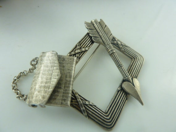 French  Silvertone Brooch with Envelope and Arrow