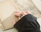 Adjustable filigree ring with cute little teacup - Rose tea. Romantic and feminine