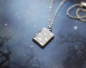 "Silver plated locket necklace with tiny stars - ""Star watcher's book"""