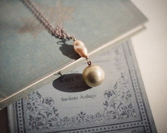 Unicorn moon - vintage brass ball locket necklace