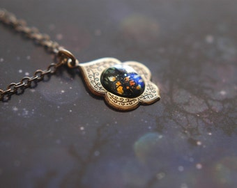 Starry night  - vintage opal glass cabochon in Victorian antiqued brass setting necklace
