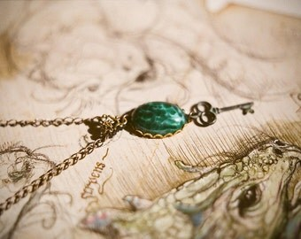 Dragon's secret - vintage dragon's scale glass stone and verdigris patina key necklace.