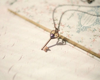 Romantic antiqued brass skeleton key necklace - Key to my heart