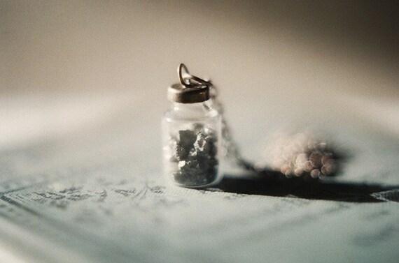 Tresor du Soleil - tiny Pyrite bottle necklace