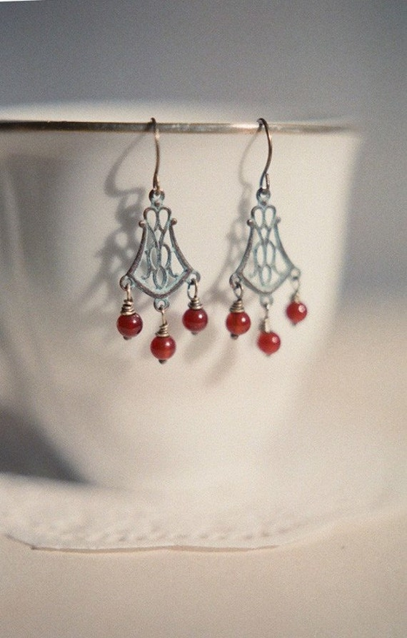 Behind the garden gate, delicate verdigris patina filigree and carnelian berries earrings. Autumn jewelry.
