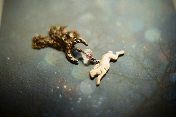Moon Hare, antiqued brass necklace featuring running hare and crescent moon.