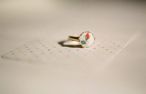 Red rose - delicate adjustable gold plated ring with vintage rose cabochon