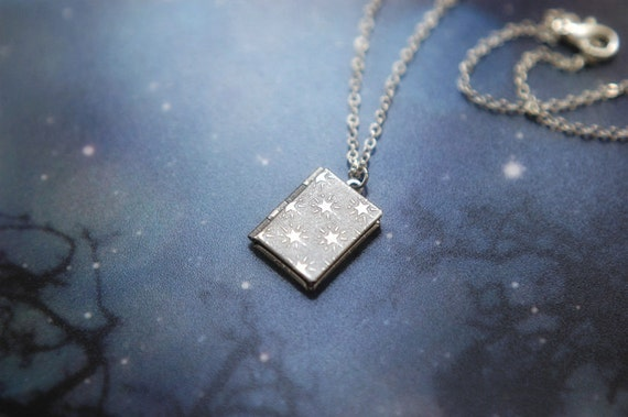 """Silver plated locket necklace with tiny stars - """"Star watcher's book"""""""