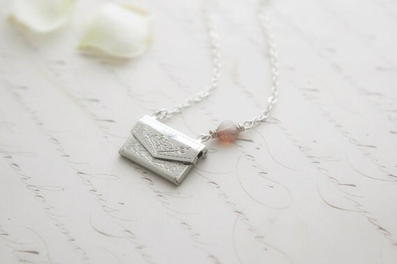 Tiny silver plated envelope locket necklace - love letters